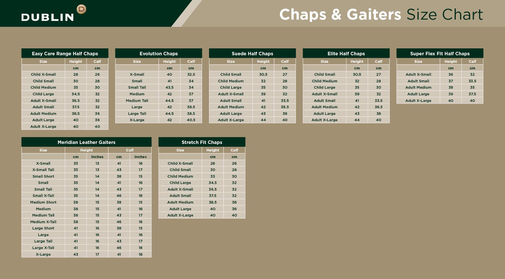 Dublin Chaps & Gaiters Size Chart