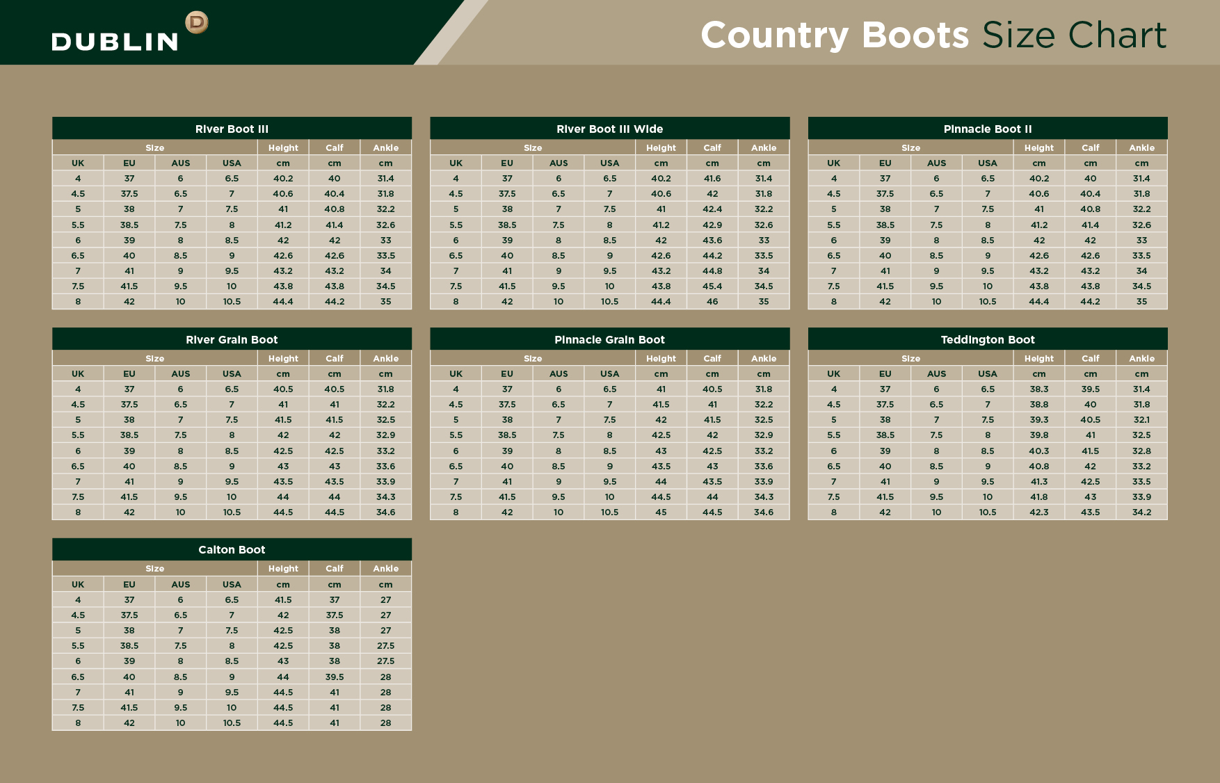 Dublin Country Boots Size Chart