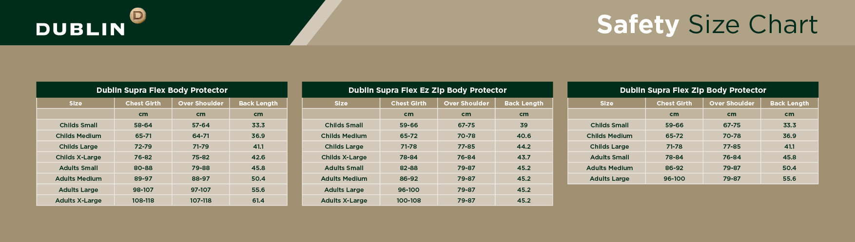 Dublin Safety Size Chart