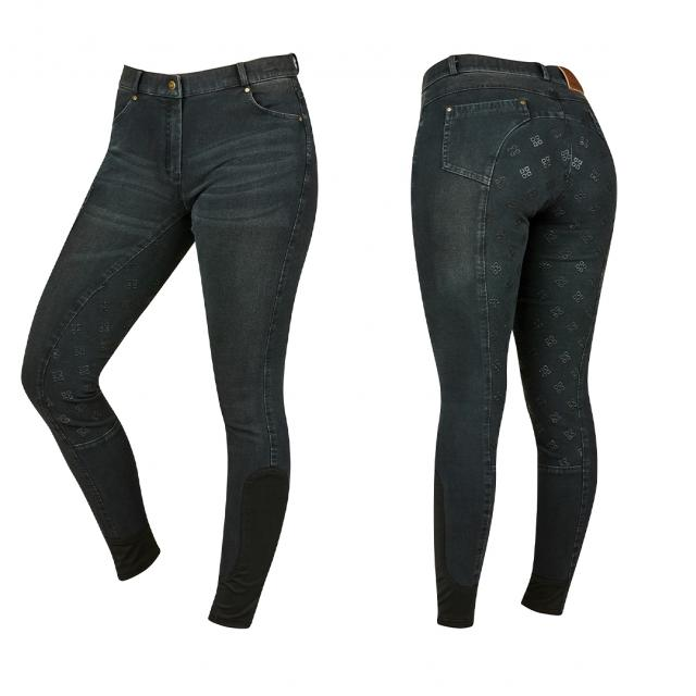 Dublin Shona Full Grip Silicone Print Denim Breeches Ash