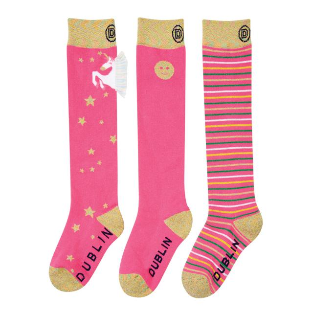 Dublin 3 Pack Kids Socks Magenta Pink