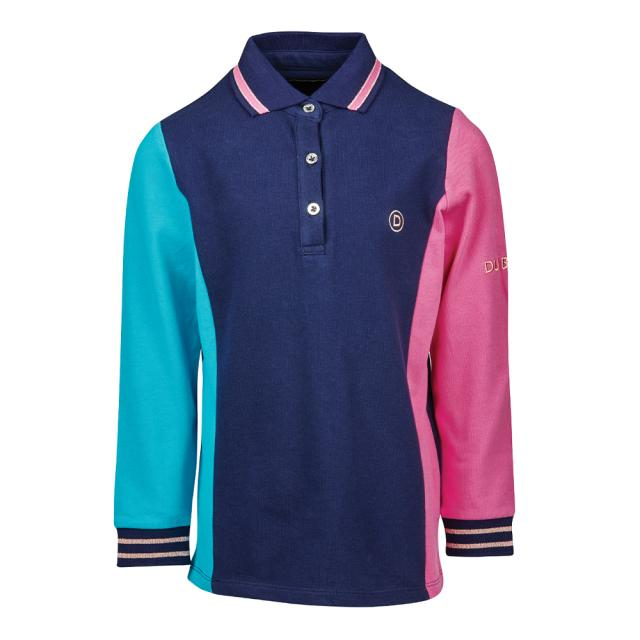 Dublin Hailey Long Sleeve Colour Block Polo Navy