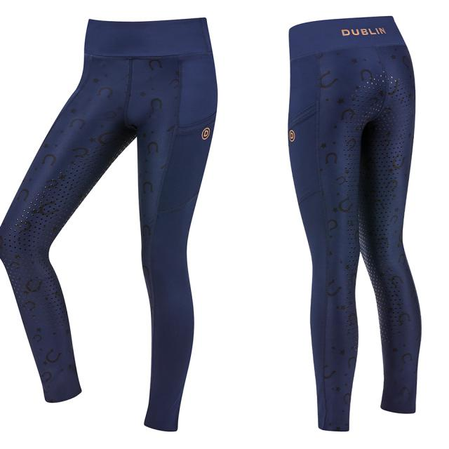 Dublin Hilda Printed Bling Tights Ink Navy