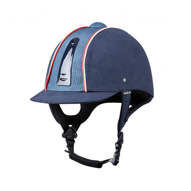 Dublin Silverline Diamond Piped Helmet Navy/Red