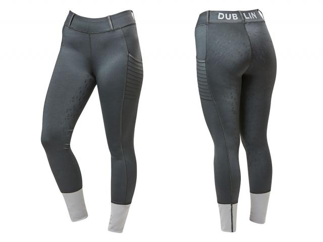 Dublin Leona Tech Reflective Full Grip Tights Gunmetal Grey