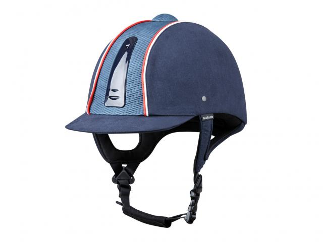 Dublin Silverline Diamond Piped Helmet Navy/Red
