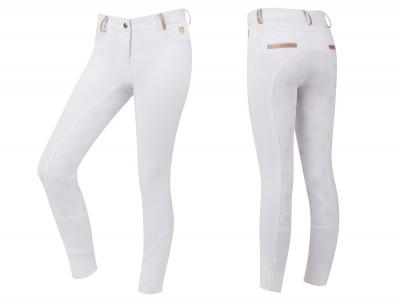 Dublin Kelly Gel Full Seat Competition Breeches White with Rose Gold