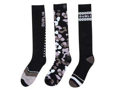 Dublin Ladies 3 Pack Socks Black