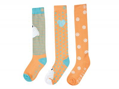 Dublin Kids Horse 3 Pack Socks Mellow Orange
