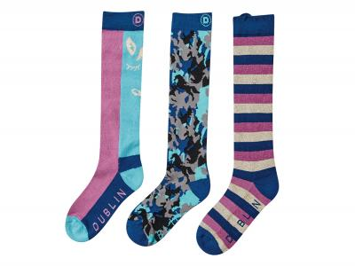 Dublin Kids Printed 3 Pack Socks Federal Blue