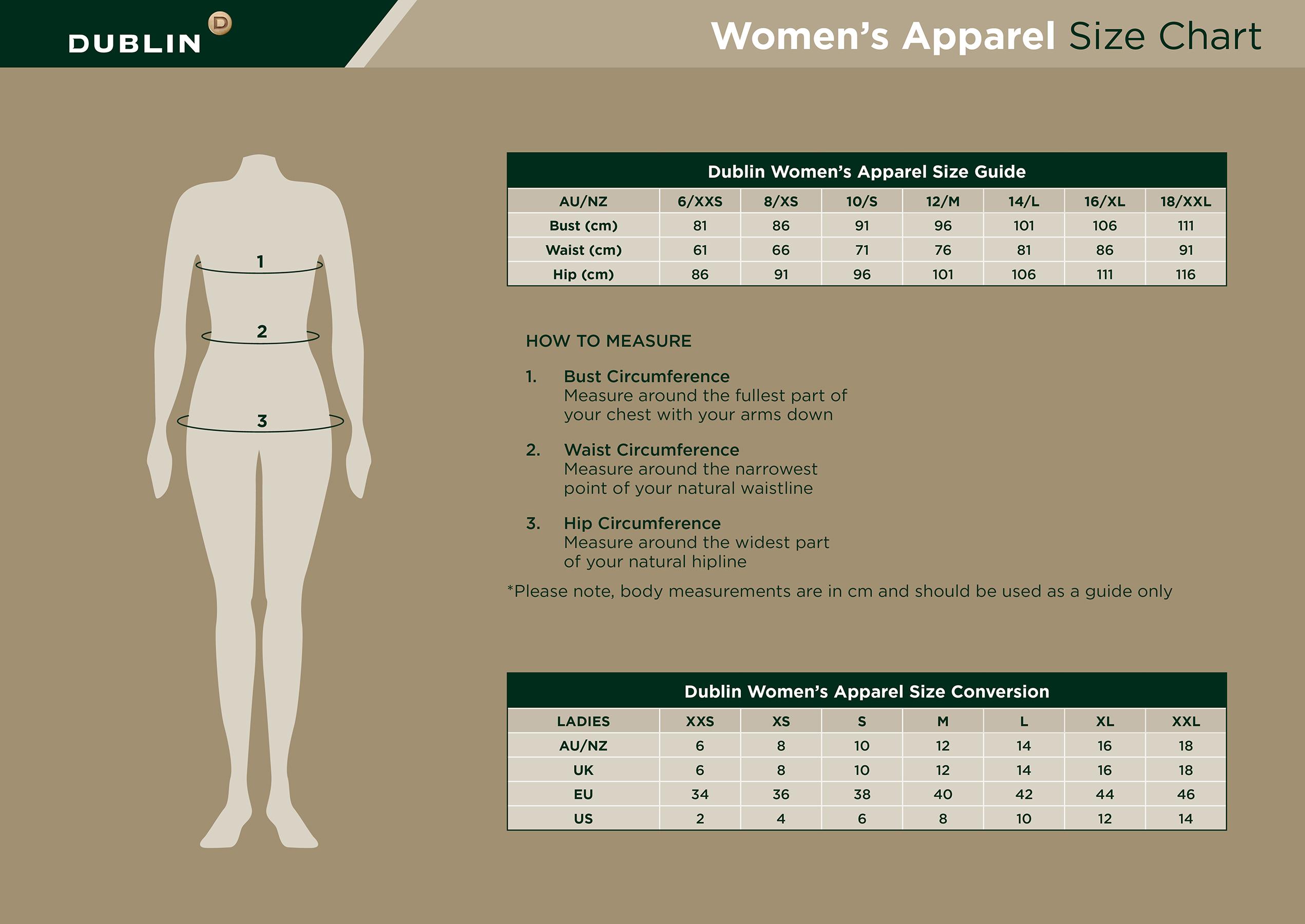 Size charts dublin clothing australia
